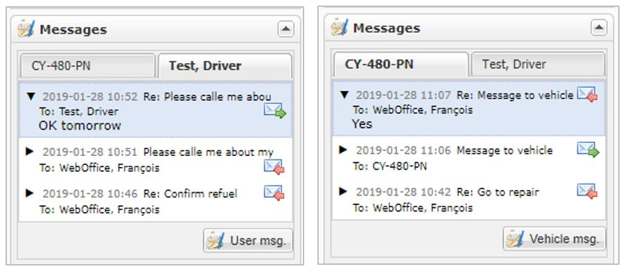 Messages in Current selection | Vehco®